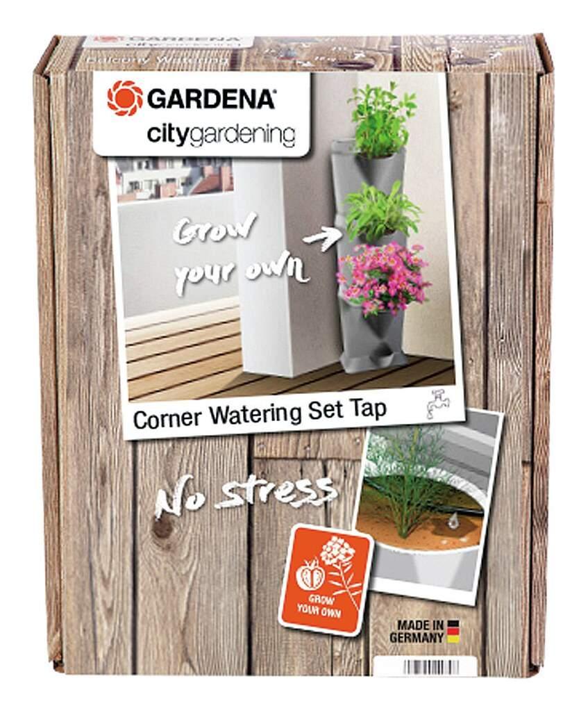 Gardena 2019 Freisteller Bewaesserungsset Ecke Wasserhahn