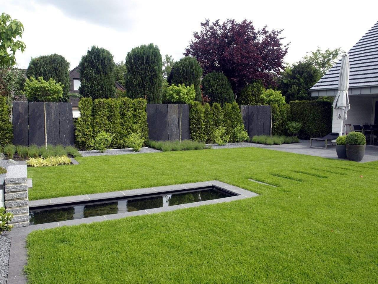 Wasserspiel Garten Modern Reizend Gärten Geradlinig Gestaltet