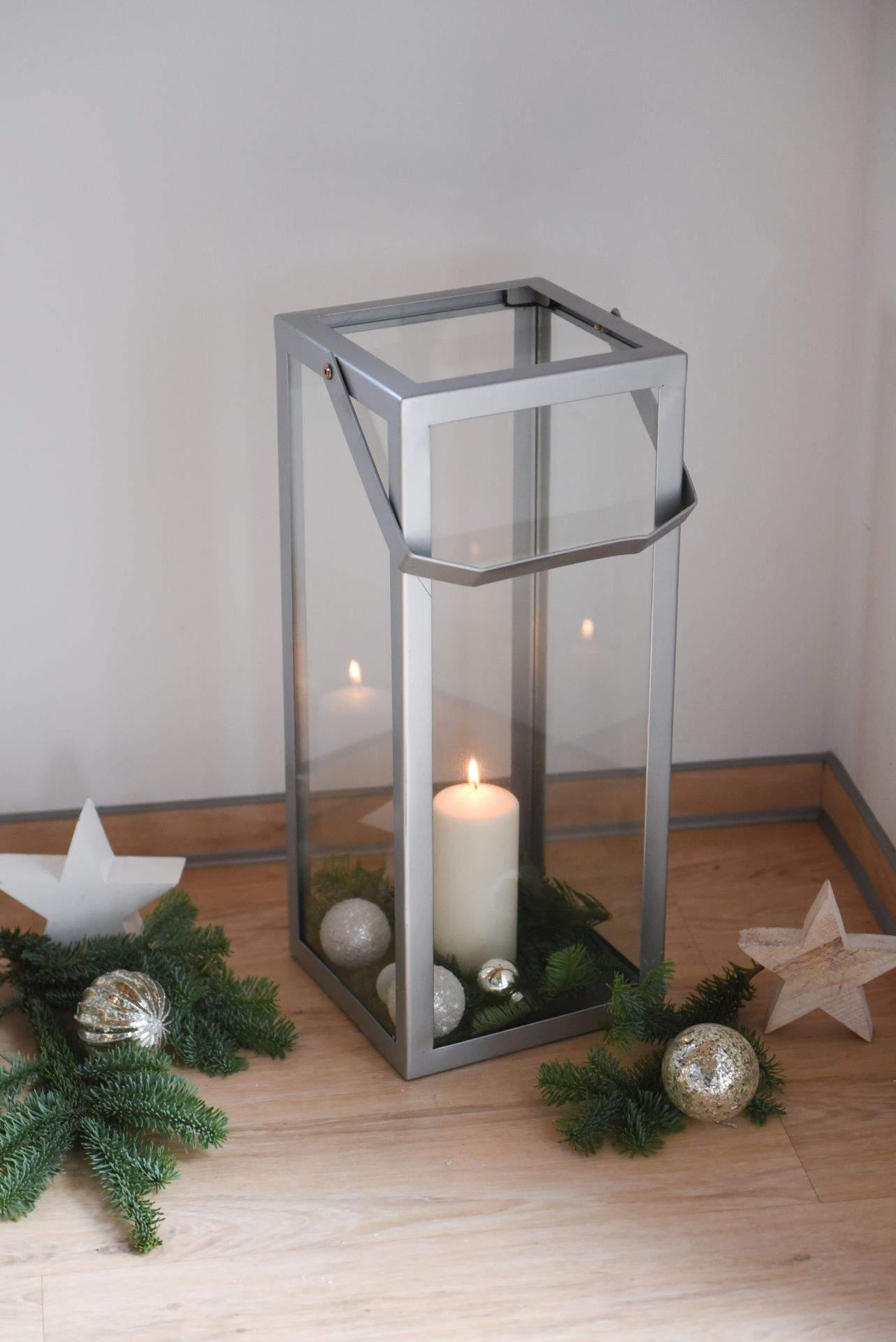 windlicht bodenwindlicht metall silber weihnachten arion 1
