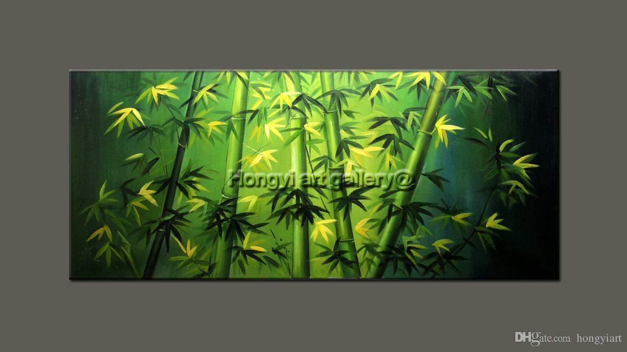 Zen Garten Deko Reizend Großhandel original Abstraktes Feng Shui Gemälde –l Auf Leinwand Grün Bambus Einzigartige Zen Kunst Große Moderne Hochwertige Handgemachte Kunst