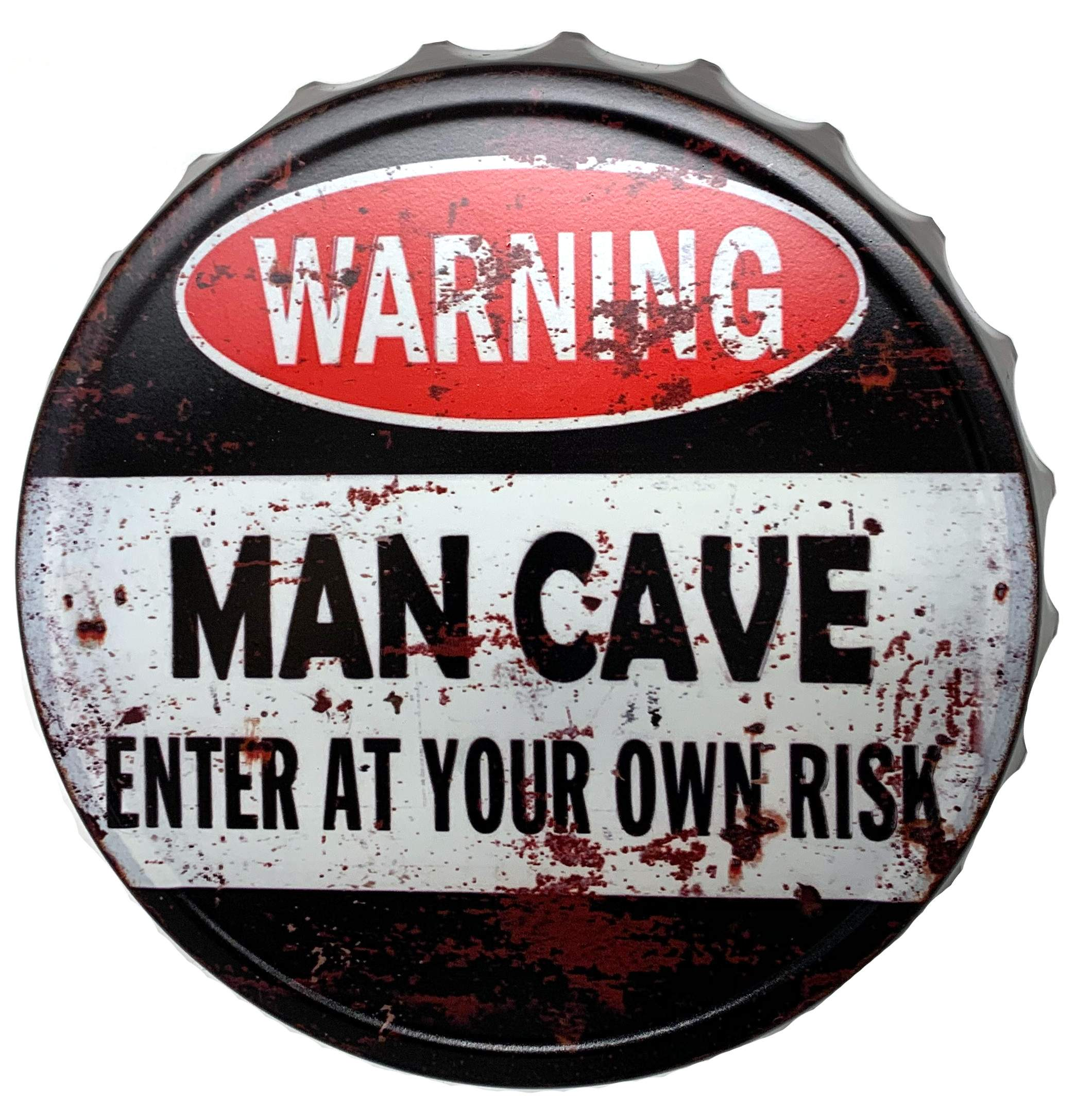 blechschild kronkorken warning man cave