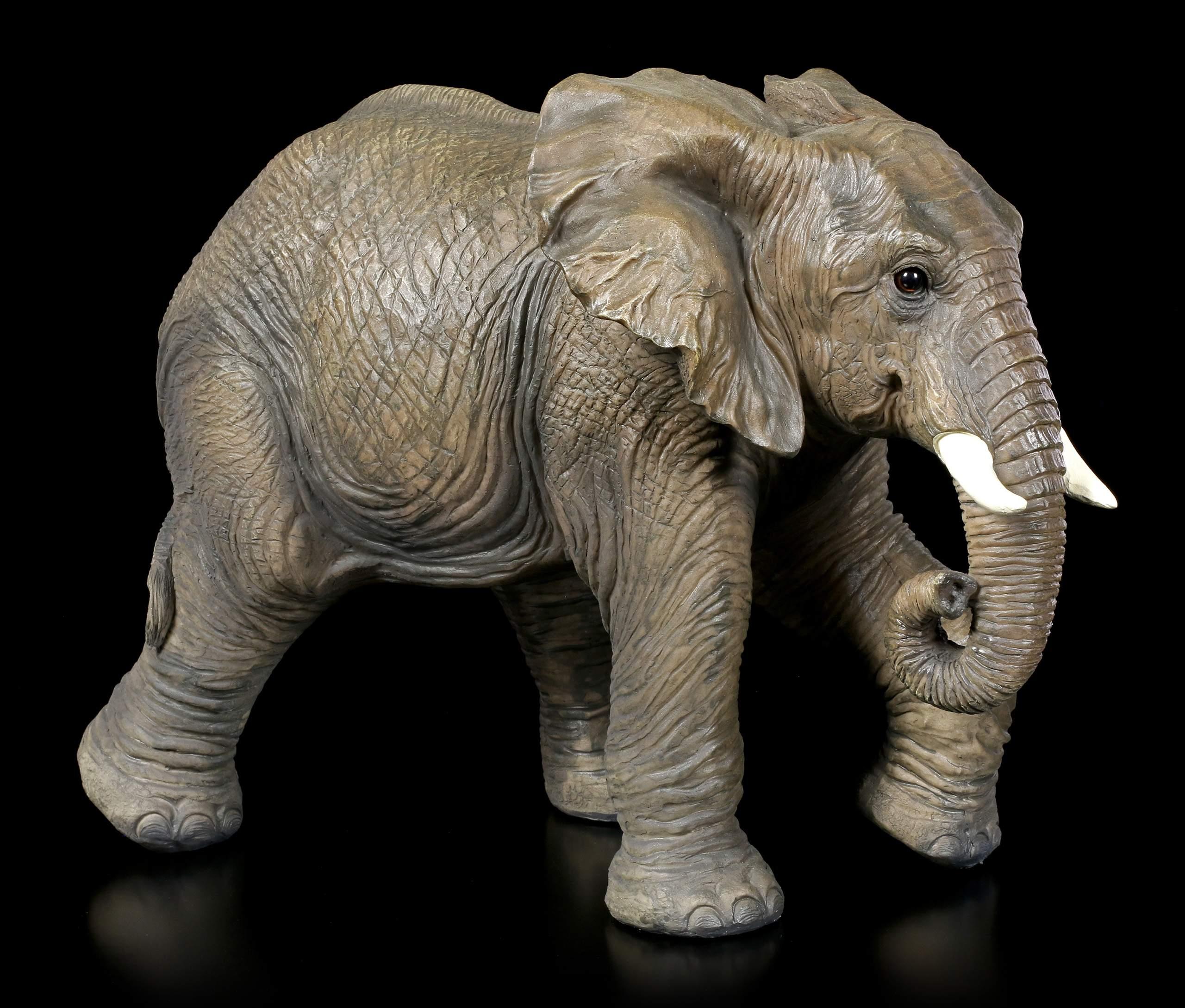 Gartenfigur Laufender Brauner Elefant